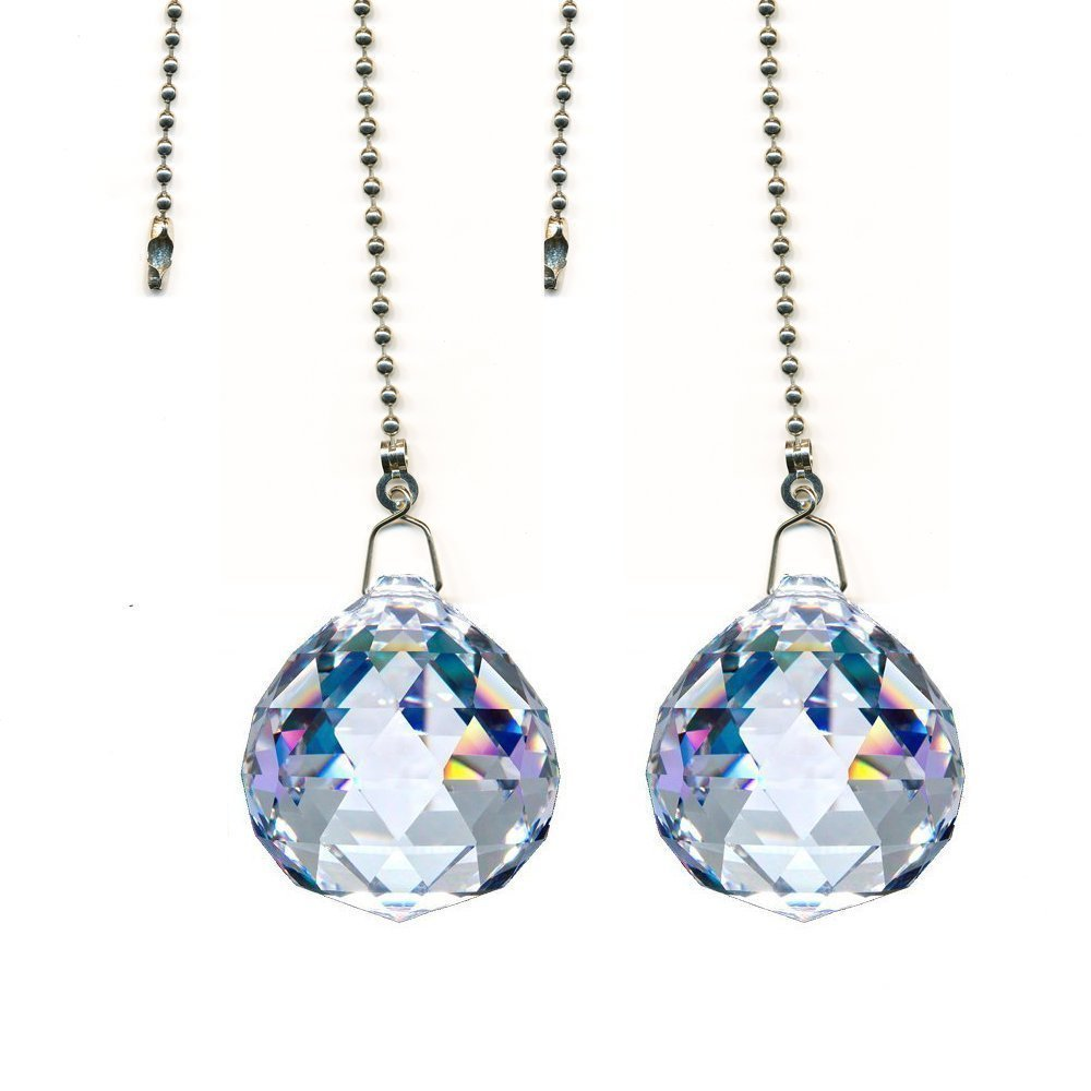 DLD Magnificent crystal Clear Crystal Ball Prism 2 Pieces Dazzling Crystal Ceiling FAN Pull Chains (50mm)