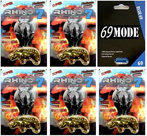 - JMC Rhino 7 30000 Big Gold 5Pills 69MODE Blue69 1Pill Male Enhancing All Natural Performance Sexual Herbal (7BG(5)69M(1))