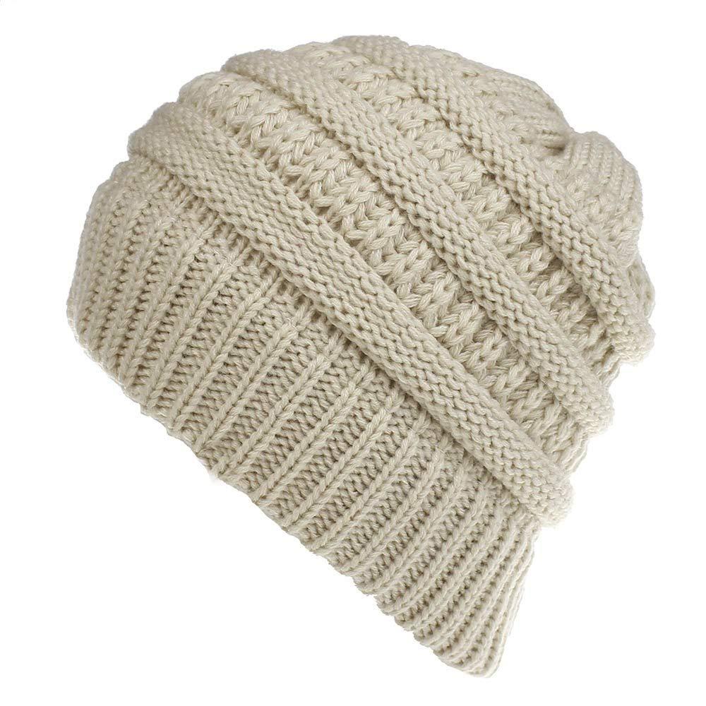 DAMENGXIANG Unisex Winter Mützen Hut Frauen Warm Baggy Freizeitaktivitäten Straße Stretchy Kopfbedeckungen Häkeln Stricken Hedging Pferdeschwanz Beige
