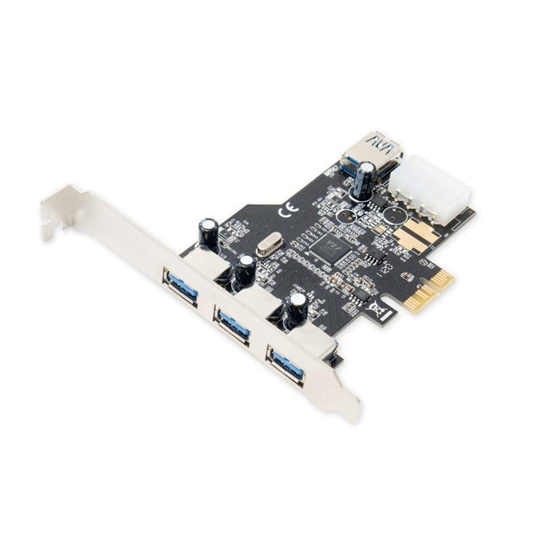 Syba SD-PEX20080 SD-PEX20080 USB 3.0 3x External & 1x Internal USB 3.0 Port PCI-Express Controller Card w HDD Power Connector & Low Profile Bracket