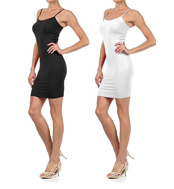 8036ebba8cdd03 Women Solid Color Seamless Cami Slip Dress with Spaghetti Straps  (Small/Medium, 2pack:black/white) at Amazon Women's Clothing store: