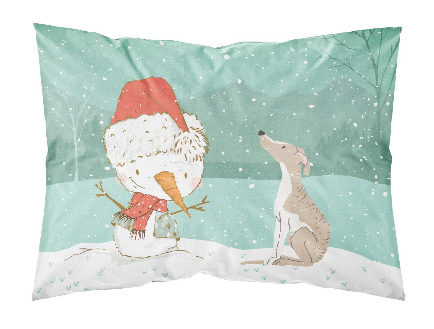 Caroline's Treasures Whippet 雪だるま クリスマス生地 スタンダード枕カバー マルチカラー B07J1TTV72
