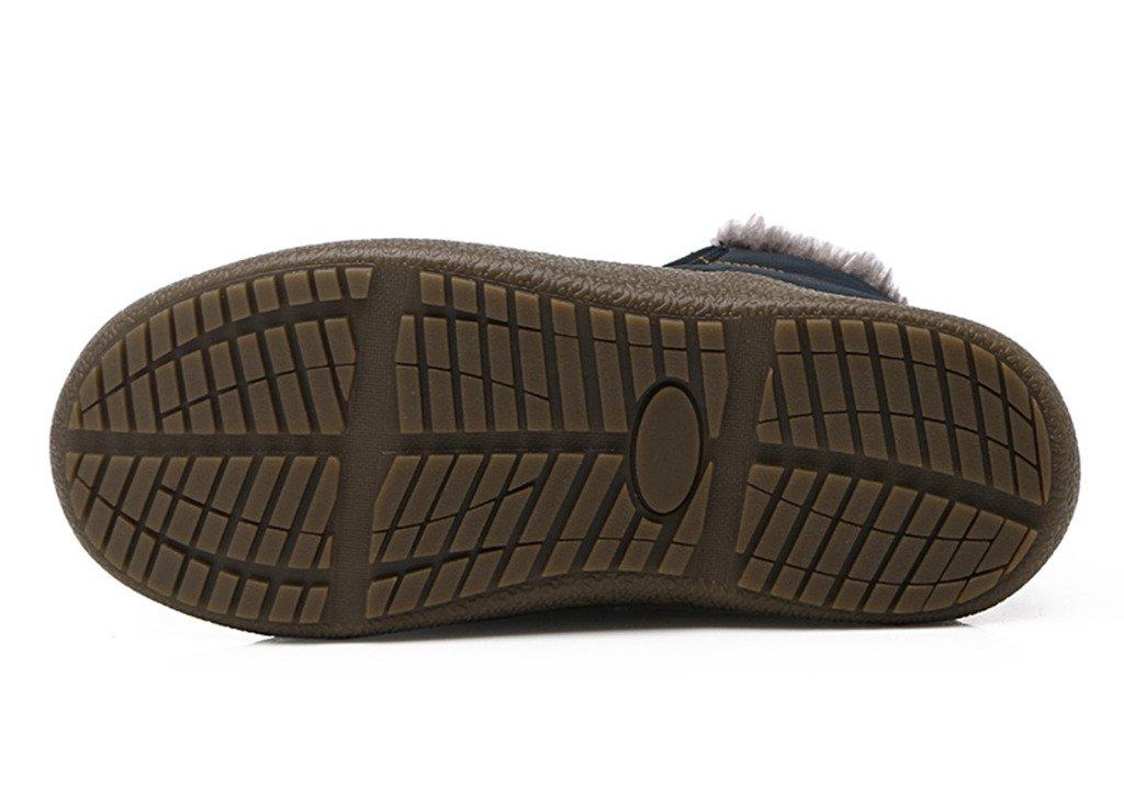 JACKSHIBO Women Men Fully Fur Lined Waterproof Anti-Slip Outdoor Slippers Ankle Boots House Slipper B01M69X3V2 Women 9.5(M)B US/Men 9(M)B US|Blue-high Slipper