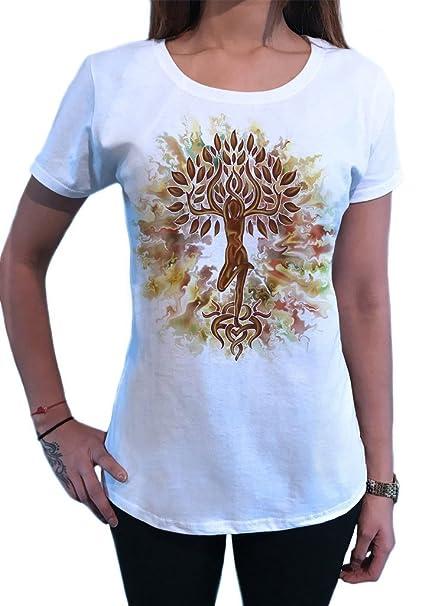 Irony Camiseta de Mujer Yoga Tree Buddha Meditación de Yoga Flower Zen Tree TS1422: Amazon.es: Ropa y accesorios