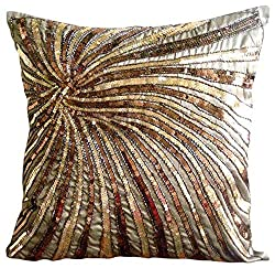 Metallic Sequins & Beaded Pinwheel Pillow Cover