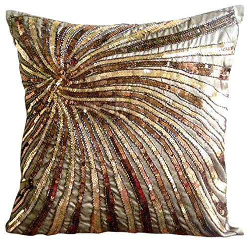 "The HomeCentric Handmade Brown Cushion Covers, Sequins & Beaded Spiral Glitter Pillows Cover, 18""x18"" Cushion Covers, Square Silk Pillows Covers for Couch, Contemporary Pillow Cases - Gold Bloom"