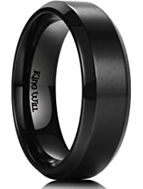 King Will Mens 7MM Black Titanium Ring Brushed Matte Finish Comfort Fit Wedding  Band