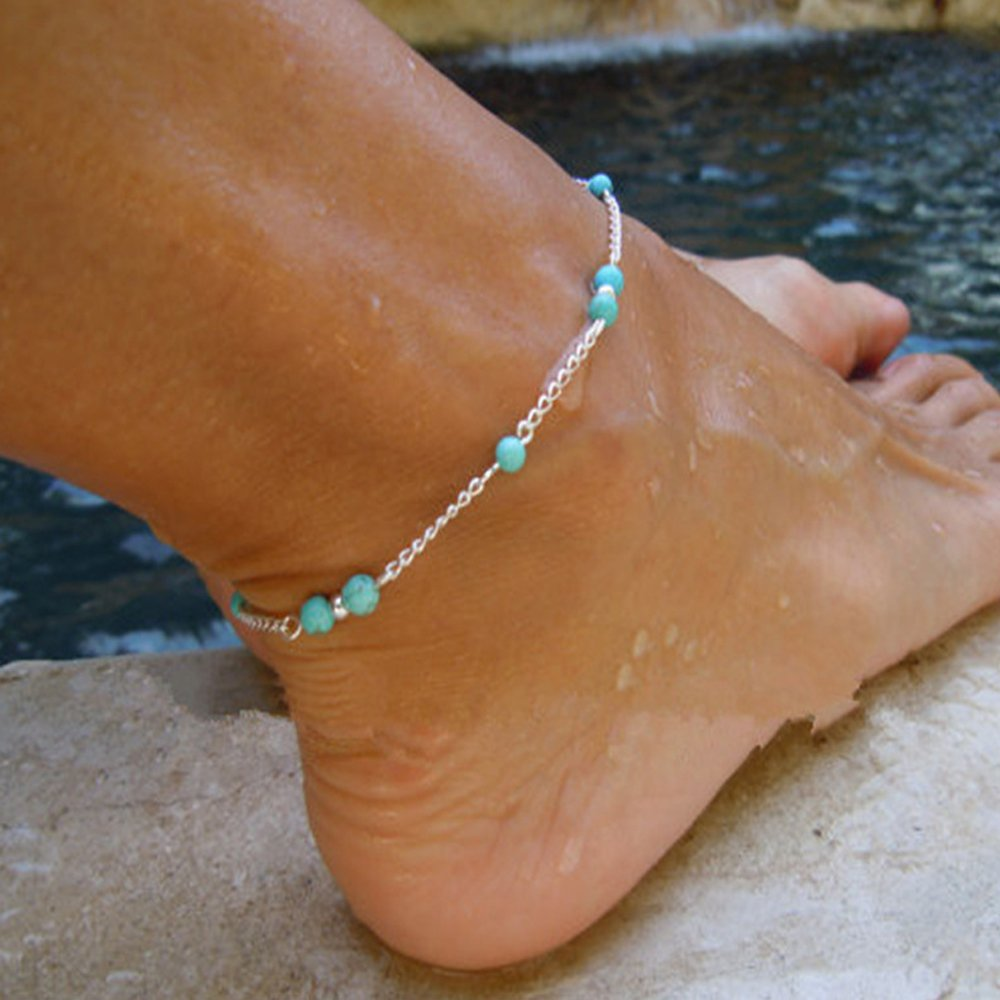 Feelontop® Bohemian Summer Silver Chain Blue Stone Beach Barefoot Foot Jewelry Anklets with Jewelry Pouch FJ-BR-5656-silver