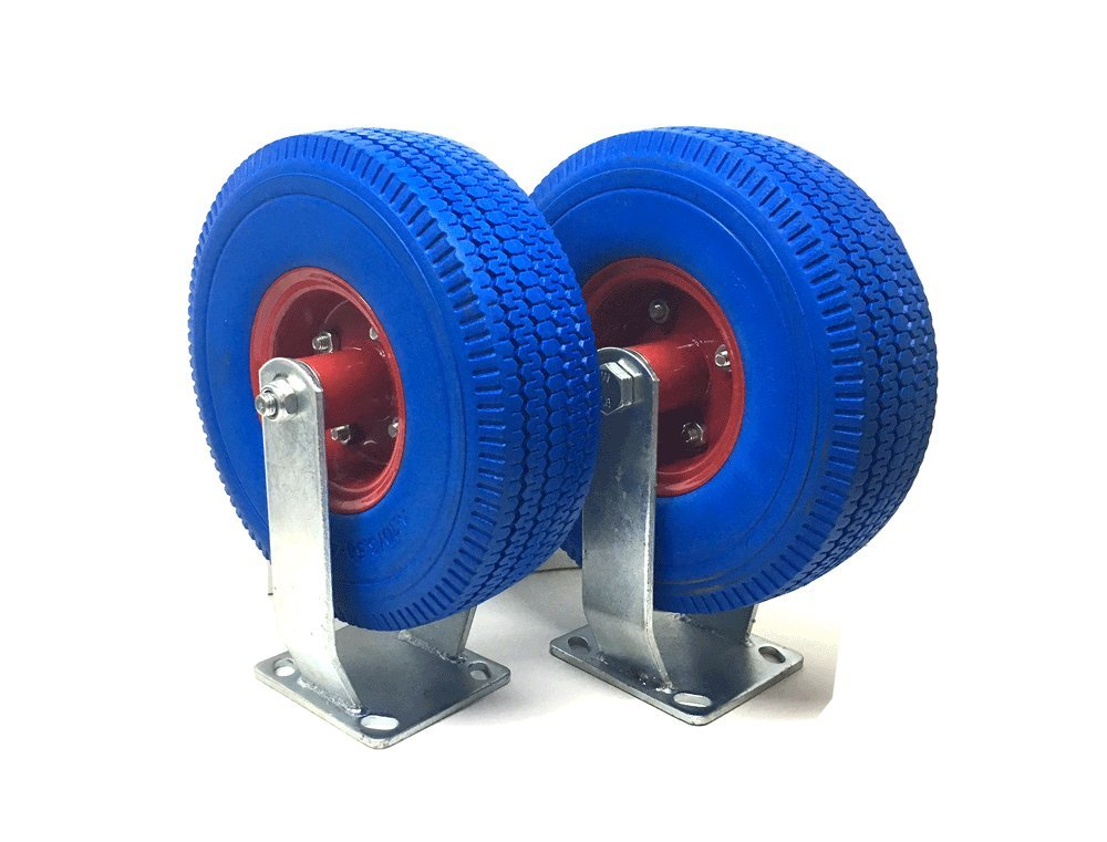 UI PRO TOOLS 2 Set 10'' Flat Free Tires Wheels with Fixed Caster- Hand Truck/All Purpose Utility Tire on Wheel