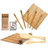 Sushi Making Kit, Delamu Bamboo Sushi Mat, Including 2 Sushi Rolling Mats, 5 Pairs of Chopsticks, 1 Paddle, 1 Spreader, 1 Beg