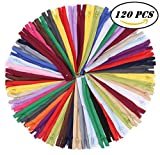 #8: SUNVORE 120 Pcs 9 Inch Nylon Coil Zippers Bulk for Tailor Sewing Crafts (20 Colors)