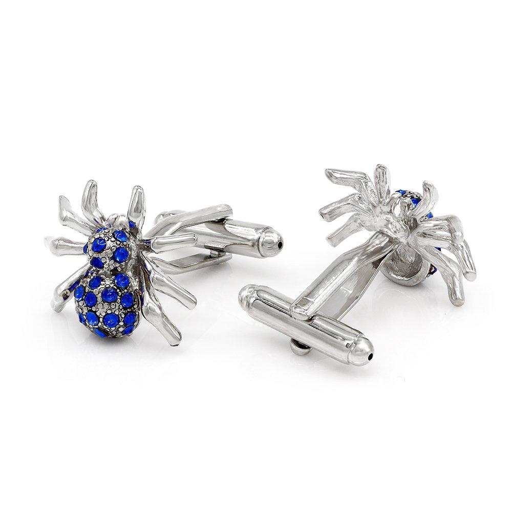 Kemstone Animal Cufflinks Crystal Silver Plated Spider Cufflinks