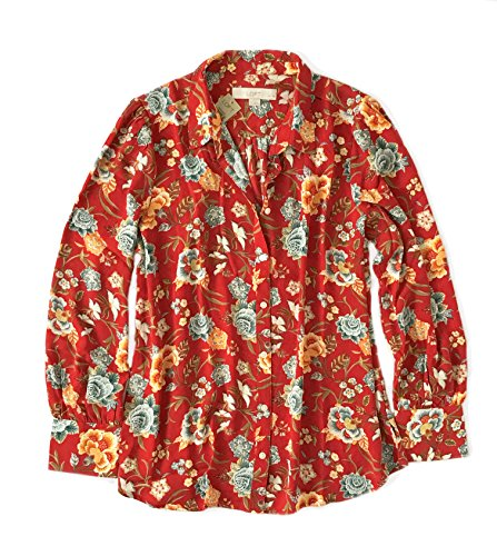 Ann Taylor LOFT Women's - Floral Vines Long Sleeve Utility Blouse (XL Petite, Red/Multi)