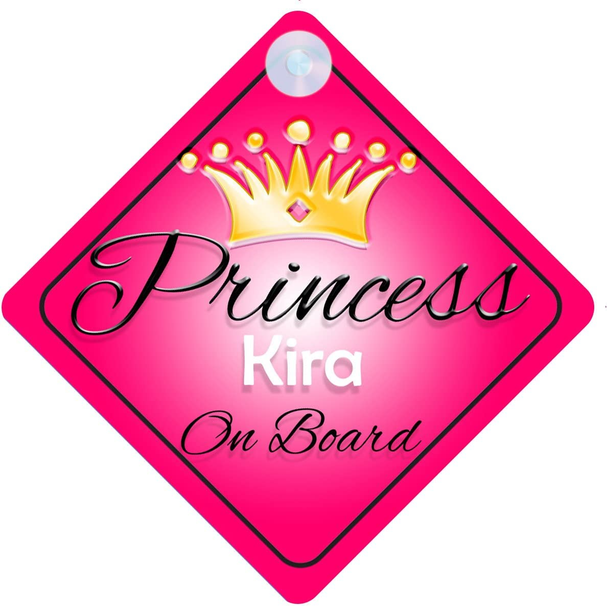 Princess Kira On Board Personalised Girl Car Sign Baby Child Gift 001