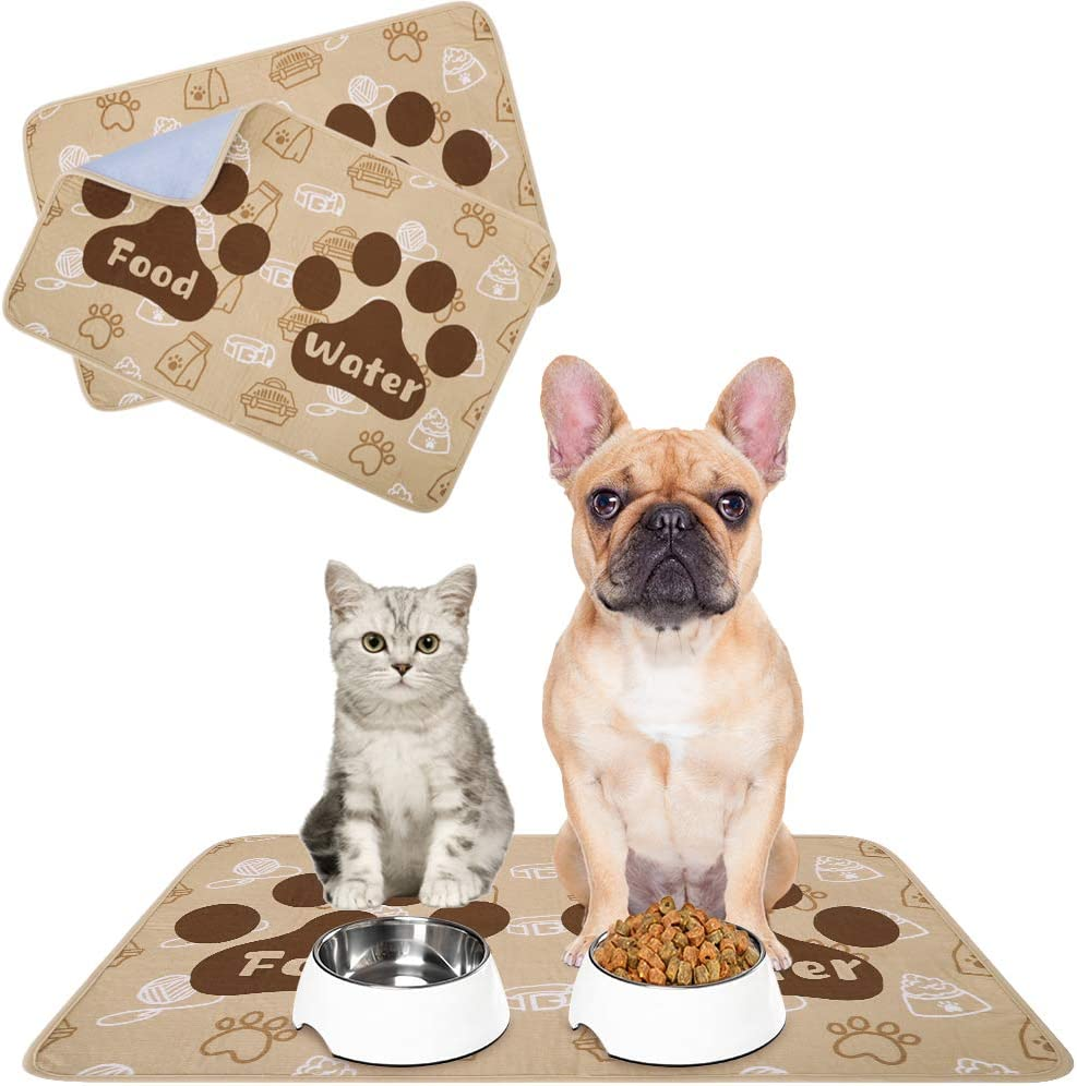 SCENEREAL Waterproof Dog Cat Food Mat, 2 Packs Non-Slip Pet Feeding Mat, Dog Cat Bowl Mat for Food and Water, Absorbent Washable Reusable Pee Pads for Dogs Puppy Training Pads