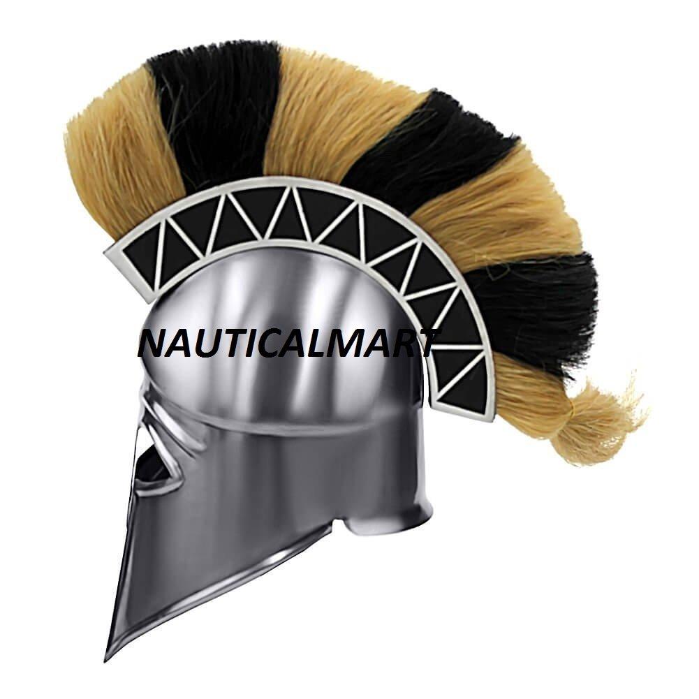 Greek Corinthian Armor Helmet With Plume BY NAUTICALMART by NAUTICALMART