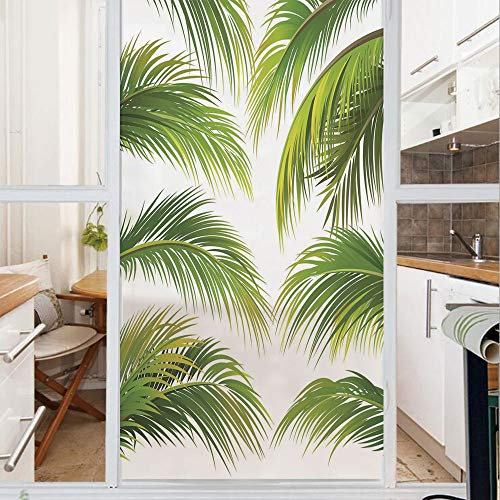 Decorative Window Film,No Glue Frosted Privacy Film,Stained Glass Door Film,Vivid Palm Leaves Growth Jungle Lush Foliage Summer Forest Botany Decorative,for Home & Office,23.6In. by 47.2In Green Lime