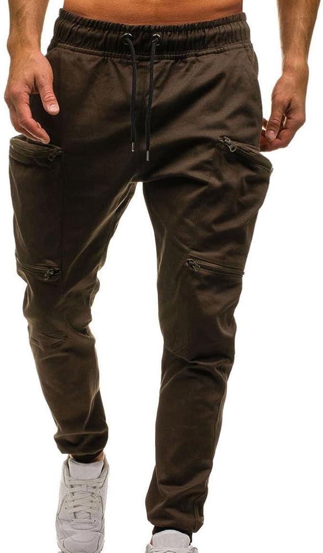 Hffan Herren Hose Cargo Chino Normaler Bund Streetwear