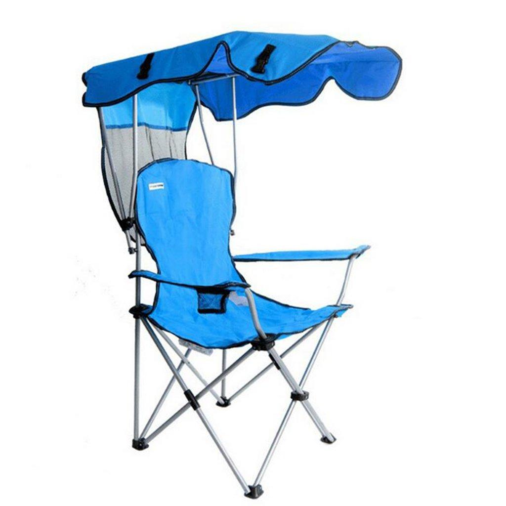 重い人のためのキャンプチェア屋外ベンチトラベル芝生の折りたたみラウンジチェア、ホールド103キロ (色 : 青)  青 B07D35HJKP