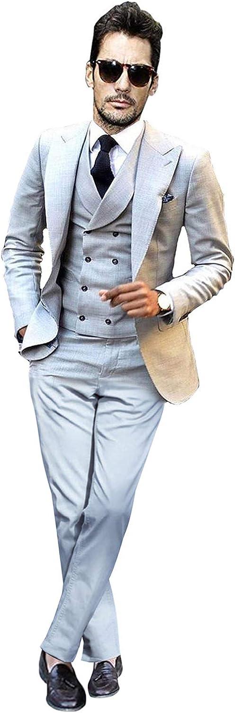 UMISS Hombre Traje Ajustado de 3 Piezas para Hombres Peak Lapel Casual//Formal//Wedding Tuxedo
