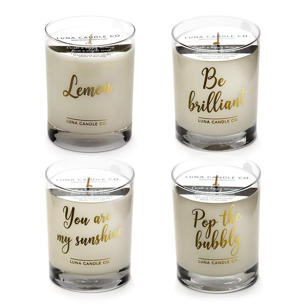 LUNA CANDLE CO. Luxurious Lemon and Peach Bellini Scented Jar Candle Gift (Set of 4) Soy Wax, 11oz. Glass, Up to 110 Hours of Burn Time, Refreshing, Spring, Handcrafted in The USA- Hello, Sunshine by LUNA CANDLE CO.