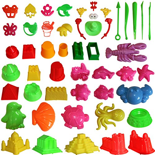 Kids Sand Tray Accessories - Mukool Play Sand Molding Toys Activity Sand Art Kits 46pcs Deluxe Mold Activity Kinetic Gifts for lb 2lb 3lb 4lb 5lb Blue Molding Sands