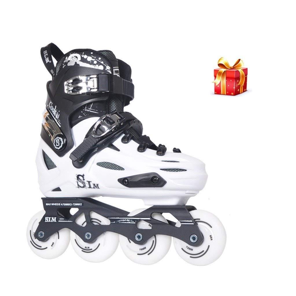 大人の初心者の屋外のレクリエーションのインラインスケート、調節可能な職業ユニセックスローラースケート (Color : 白い, Size : Adjustable (40-44)) 白い Adjustable (40-44)