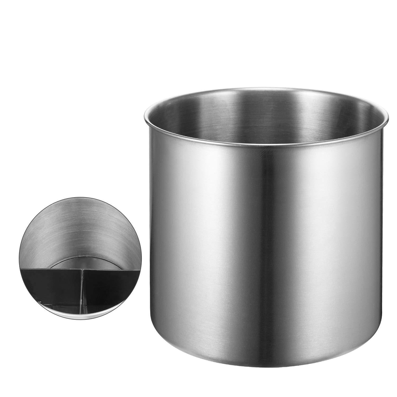 SINARDO Stainless Steel Utensil Holder Jumbo - 7 X 7 Inches with Pull-Out Plastic Shelf