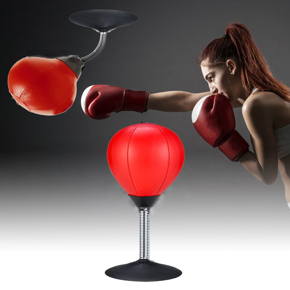 Desktop Punching Bag Stress Buster Desk Punching Ball Boxing Training Speed Ball Bag with Strong Suction Cup Heavy Duty Pump Freestanding Reflex Bag Kit Stress Relief toys for Adults Kids Home Office