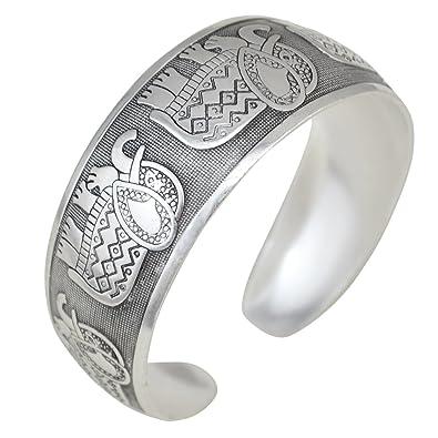 BODYA tibétain argent sculpté éléphant arqué Branches de connexion bande  ouverte bras large Bracelet Bracelet