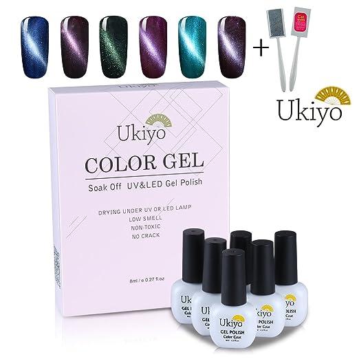 3 opinioni per Ukiyo 6PCS Soak Off kit smalto semipermanente L'occhio del gatto + magnete 8ml
