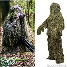 GLORYFIRE Ghillie Suit Woodland Forest Camouflage Hunting Apparel for Wargame Wildlife Photography Shooting Halloween Airsoft Paintball 3D Tactical Wear Conceal Suit Gun Cover Head Cover 5PCS XL/XXL