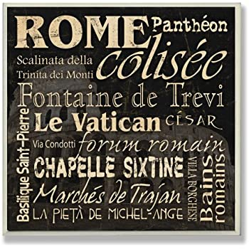 Stupell Home Décor Rome Landmarks Square Wall Plaque, 12 x 0.5 x 12, Proudly Made in USA