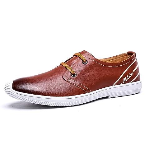HhGold Zapatos de Cuero con Cordones Ocasionales cómodos de los Hombres, Mocasines Principales Redondos para