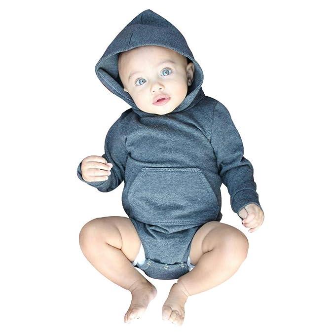 a15e42993 Tefamore-Bebé Ropa Niñas Niños Pijama de Invierno Sólido Color Hoodies  Mameluco
