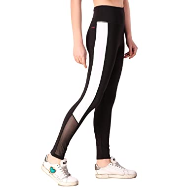 dad179d966d78 Fitinc Lycra Black Leggings for Girls/Women with Both Side White Stripe &  Black Net
