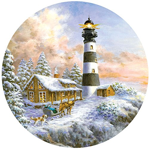 Bits and Pieces - 300 Piece Round Jigsaw Puzzle for Adults - Winter Majesty - 300 pc Winter Holiday Scene Round Jigsaw by Artist Nicky Boehme
