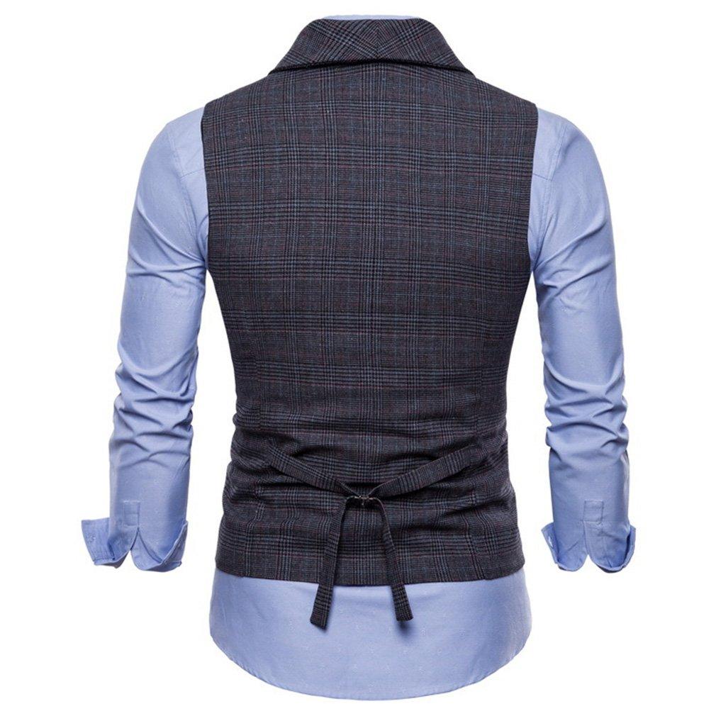Mxssi Gilet da Uomo British Casual Suit Gilet Maschio a Doppio Petto Vest Uomo Top AbbigliaUomoto Vestito Slim Fit Gilet