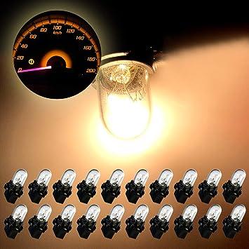 Partsam 20pcs T10 168 Red Halogen Light Bulb Instrument Cluster Gauge Dash Lamp