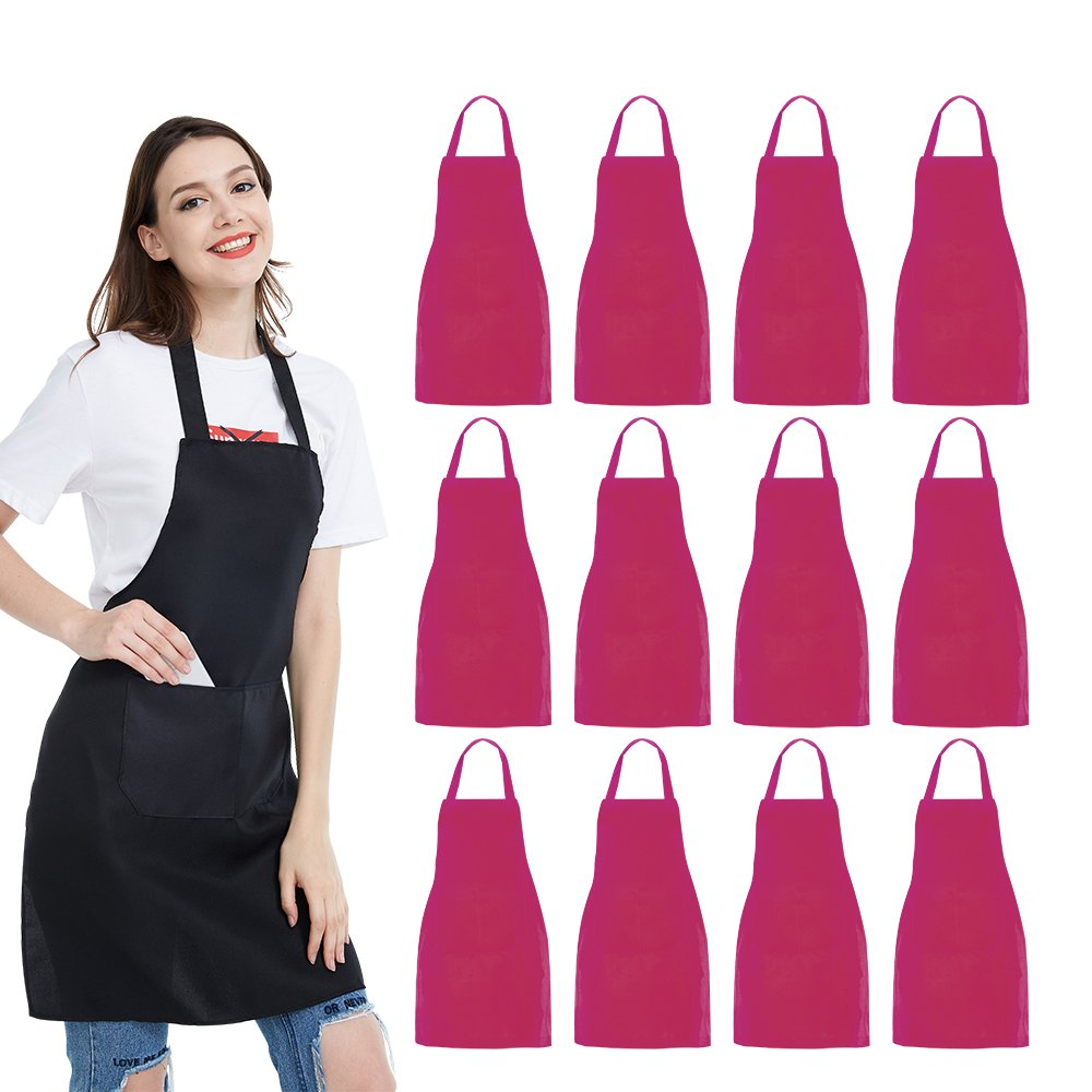 NOBONDO 12 Pack Bib Apron - Unisex Pink Apron Bulk with 2 Roomy Pockets Machine Washable for Kitchen Crafting BBQ Drawing