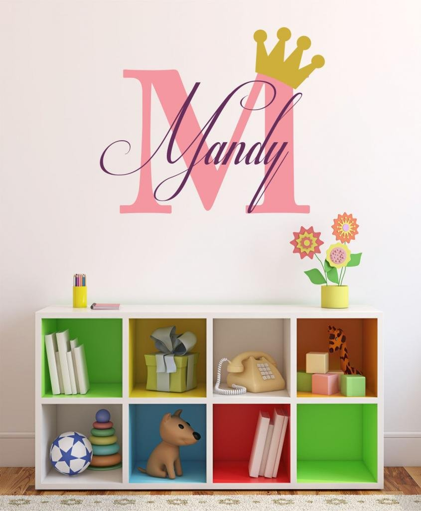 Baby Girl Initial Personalized Custom Name Vinyl Wall Decal 28'' W by 16'' H, Girl Name Wall Decals, Wall Decal, Name Wall Decal, Nursery Name Decal, Girls Names, Plus Free White Hello Door Decal by Decor Designs Decals