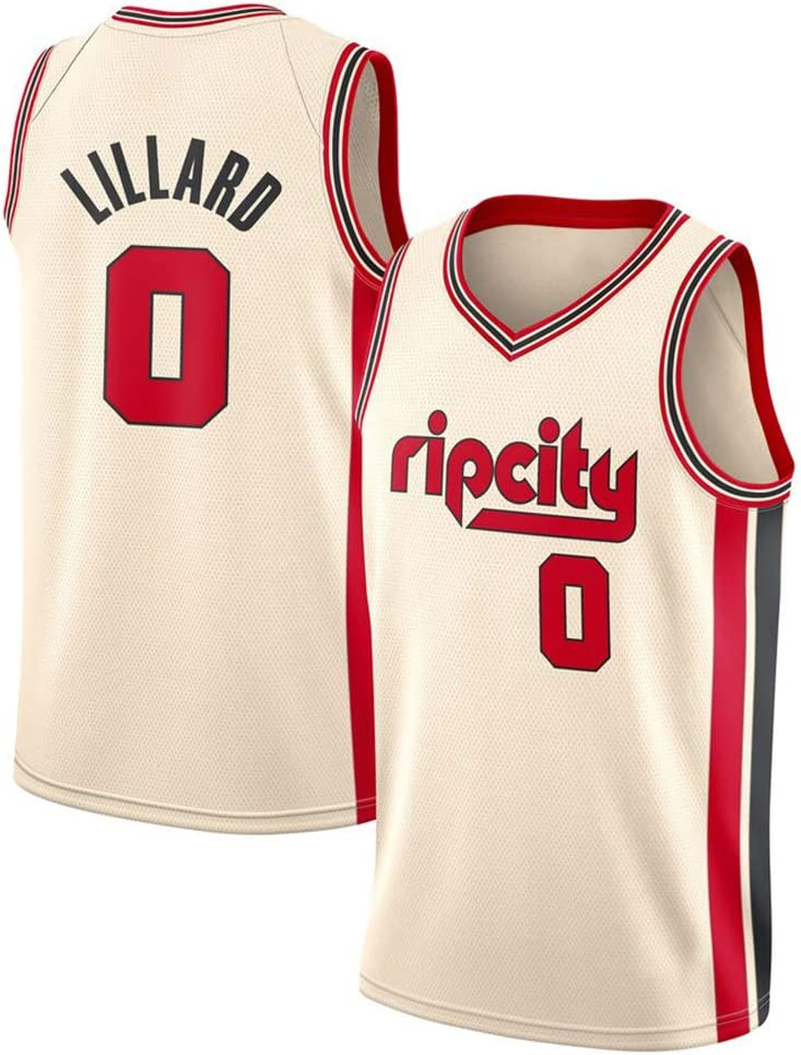 Gilet Version Polyester /à Pression /à Chaud 0# Maillot de Basket-Ball Lillard Blazers pour Homme T-Shirt Sportswear /à s/échage Rapide S-2XL