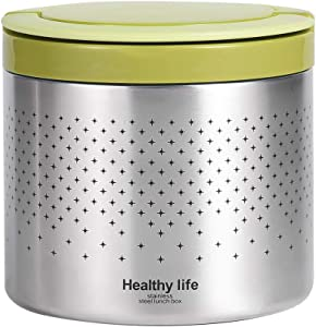 Vacuum Insulated Thermos Food Jar 34 Ounce Lunch Thermos with Handles Portable Stainless Steel Lunch Box Containers, Stay Hot for 5h Cold for 10h, Green