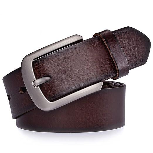 JingHao Cinturones para hombres Cinturón de cuero genuino para jeans y  vestido Negro y marrón Regular Cigarrillos grandes y altos 28