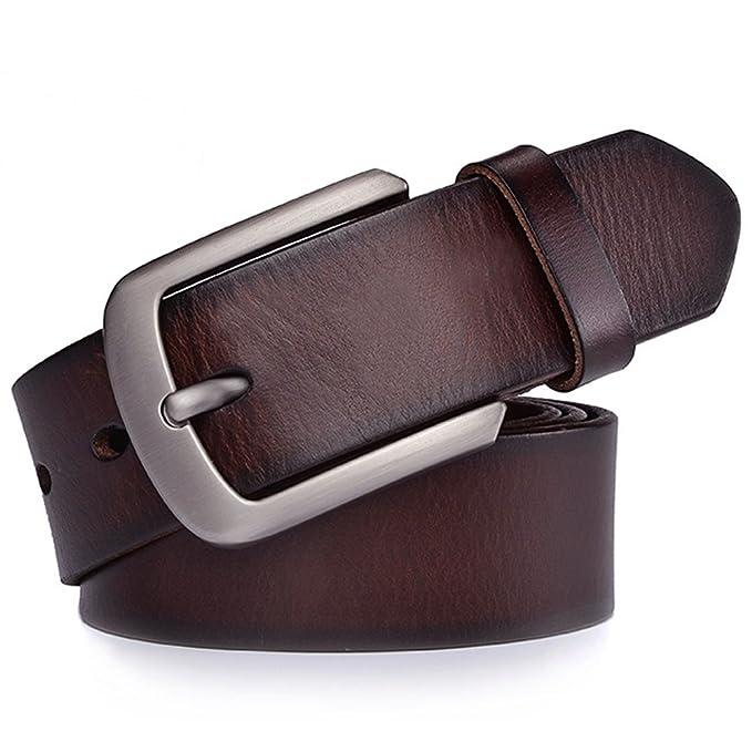 JingHao Cinturones para hombres Cinturón de cuero genuino para jeans y  vestido Negro y marrón Regular a6d0af0306a3