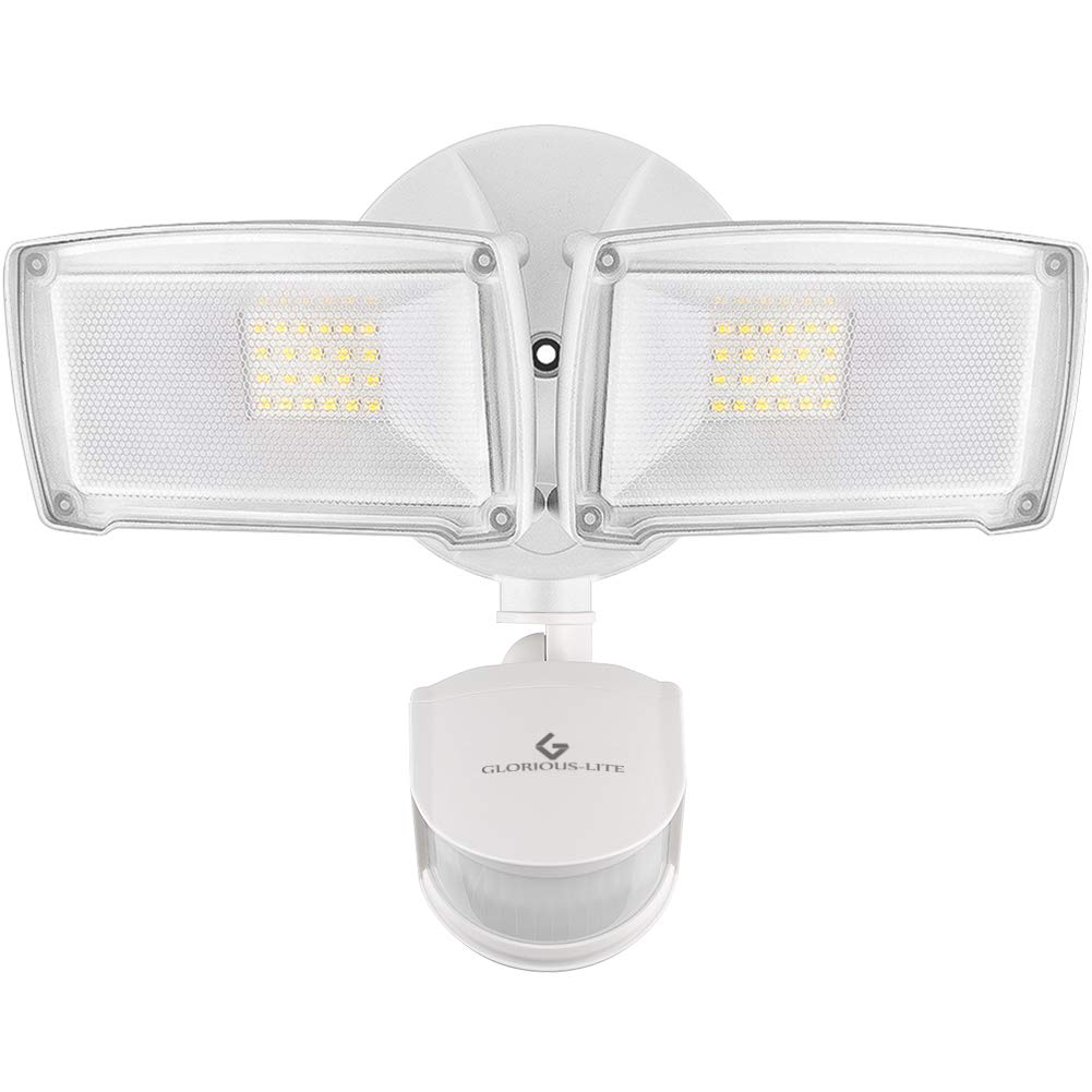 GLORIOUS-LITE 28W Motion Sensor Light Outdoor, 3000LM LED Security Lights Motion Outdoor, IP65 Waterproof Motion Lights Outdoor, 5500K 2 Head Motion Flood Light for Yard, Patio by GLORIOUS-LITE