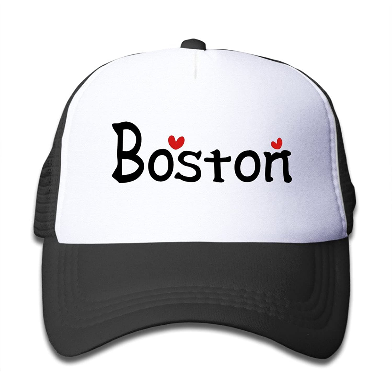 Gsyful Youth Children Kids Spring USA City Boston Txt Hearts Vector Graphic Line Art Baseball Cap Hat Snapback Black