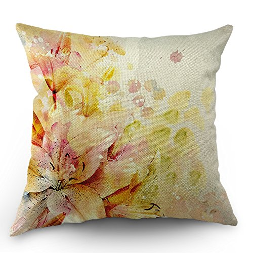 Moslion Shabby Chic Lilies Flowers Buds Leaves Cream Light Pink Peach Throw Pillow Cover Cotton Linen Pillow Case Cushion Cover for Men Women Kids 16x16 Inch