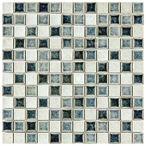 Somertile GDXCSQAM Crackle Square Azure Mix Glass and Cer...