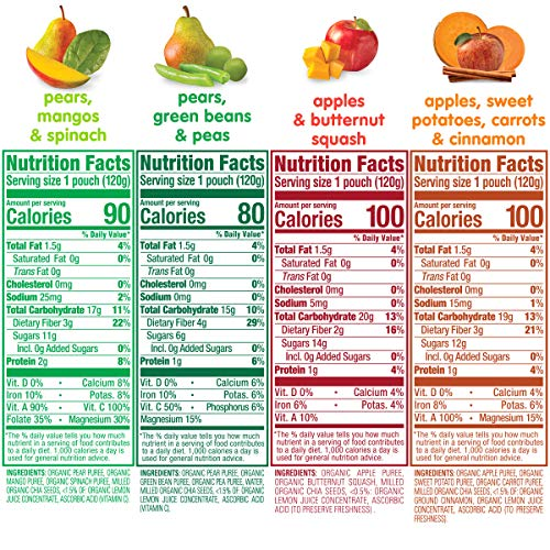 61CXH8JfVsL - Happy Tot Organics Stage 4 Superfoods Variety Pack, 4.22 Ounce Pouch (Pack Of 16) Green Beans/Pear/Pea, Sweet Potato/Apple/Carrot/Cinnamon, Apple/Butternut/Spinach/Mango/Pear (Packaging May Vary)